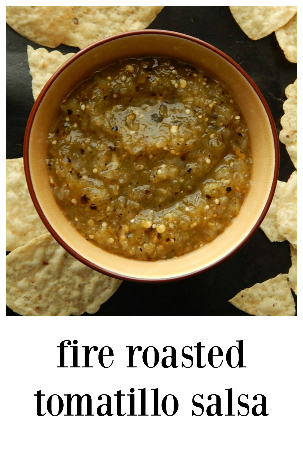 Fire Roasted Tomatillo Salsa knock your socks off good, tons of flavor and as much or as little heat as you want! This recipe has some secrets! Customize it. #FireRoastedTomatilloSalsa #TomatilloSalsa #Salsa #Salsas #Tomatillos #Mexican
