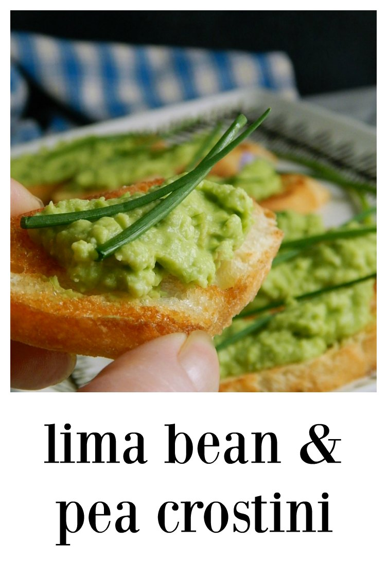 Lima & Pea Crostini are perfect for Spring! The spread is cool, rich, creamy and delish - you'll have to stop yourself from eating it by the spoonful! Minutes to make. #LimaPeaCrostini #EasterAppetizer #LimaPeaPesto