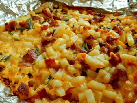 Cheesy Bacon Foil Potatoes, Baked or Grilled