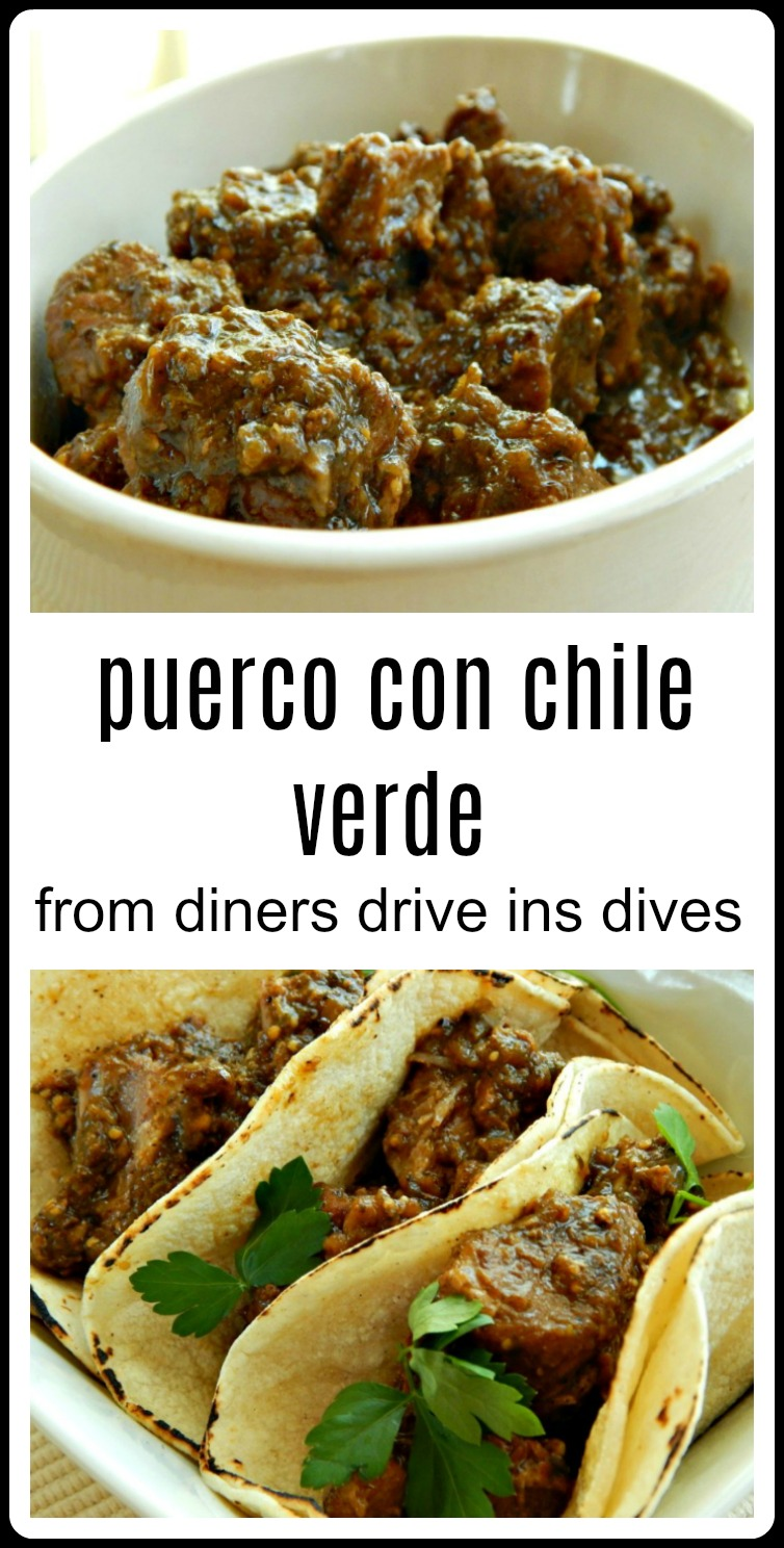Puerco con Chile Verde from Diners Drive-Ins & Dives, Espinos Restaurant. This is a gorgeous pork green chile with tomatillos, classic recipe hailing from the Michoacan area of Mexico. #PuercoConChilelVerde #PorkGreenChili