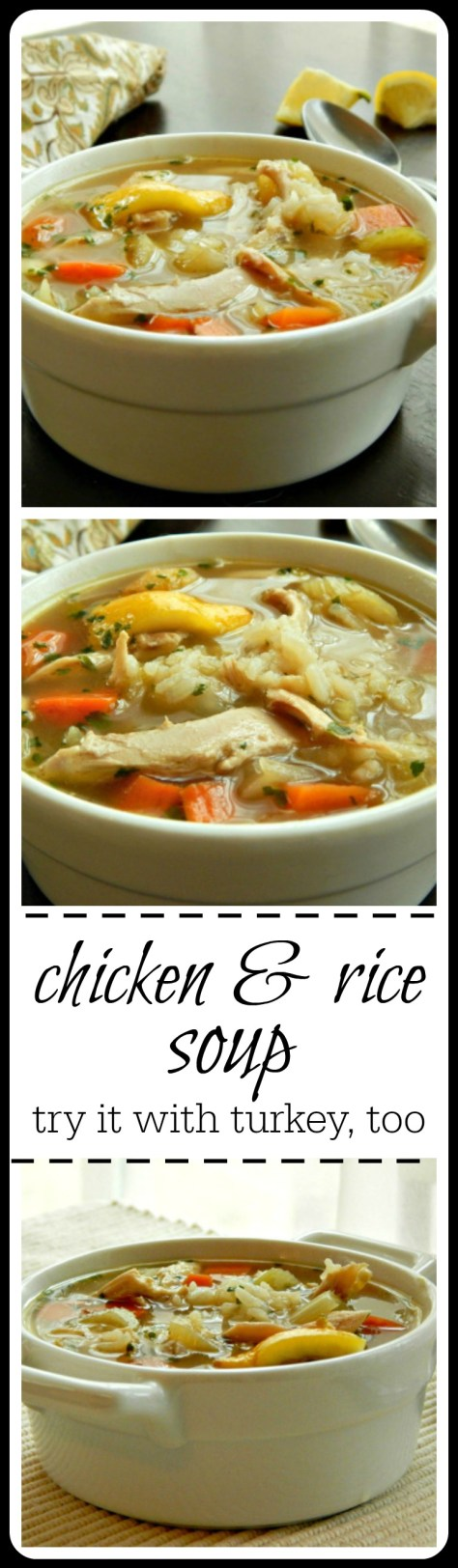 Chicken & Rice Soup - just as good with turkey. There's lots of hints on how to get the BEST rice soup!