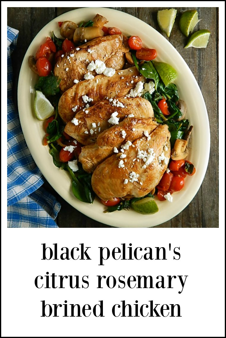 Black Pelican Citrus Rosemary Brined Chicken has a beautiful saute of veggies, spinach, tomatoes & mushrooms. A great low carb dish! As shown on Diners DriveIns Dives #BlackPelicanCitrusRosemaryBrinedChicken #DinersDriveIsDives