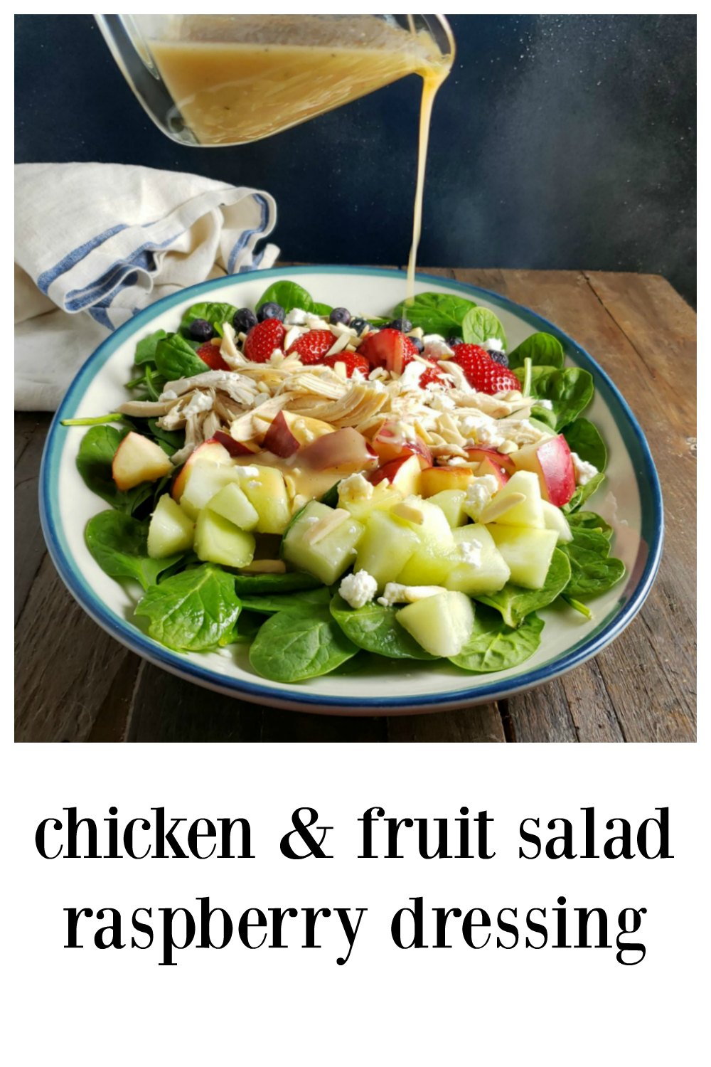 Chicken & Fruit Salad with Raspberry Dressing - Your fave fruits & salad greens with a creamy honey, yogurt raspberry dressing! #ChickenSalad #Salad #MainDishChickenSalad