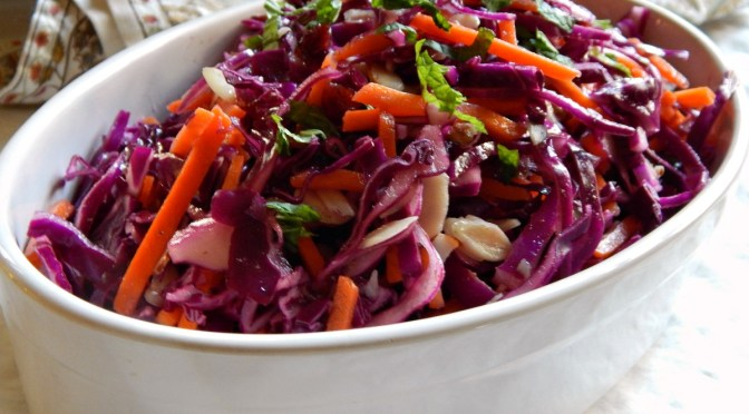 Red Cabbage & Carrot Slaw with Cranberries, Mint & Honey