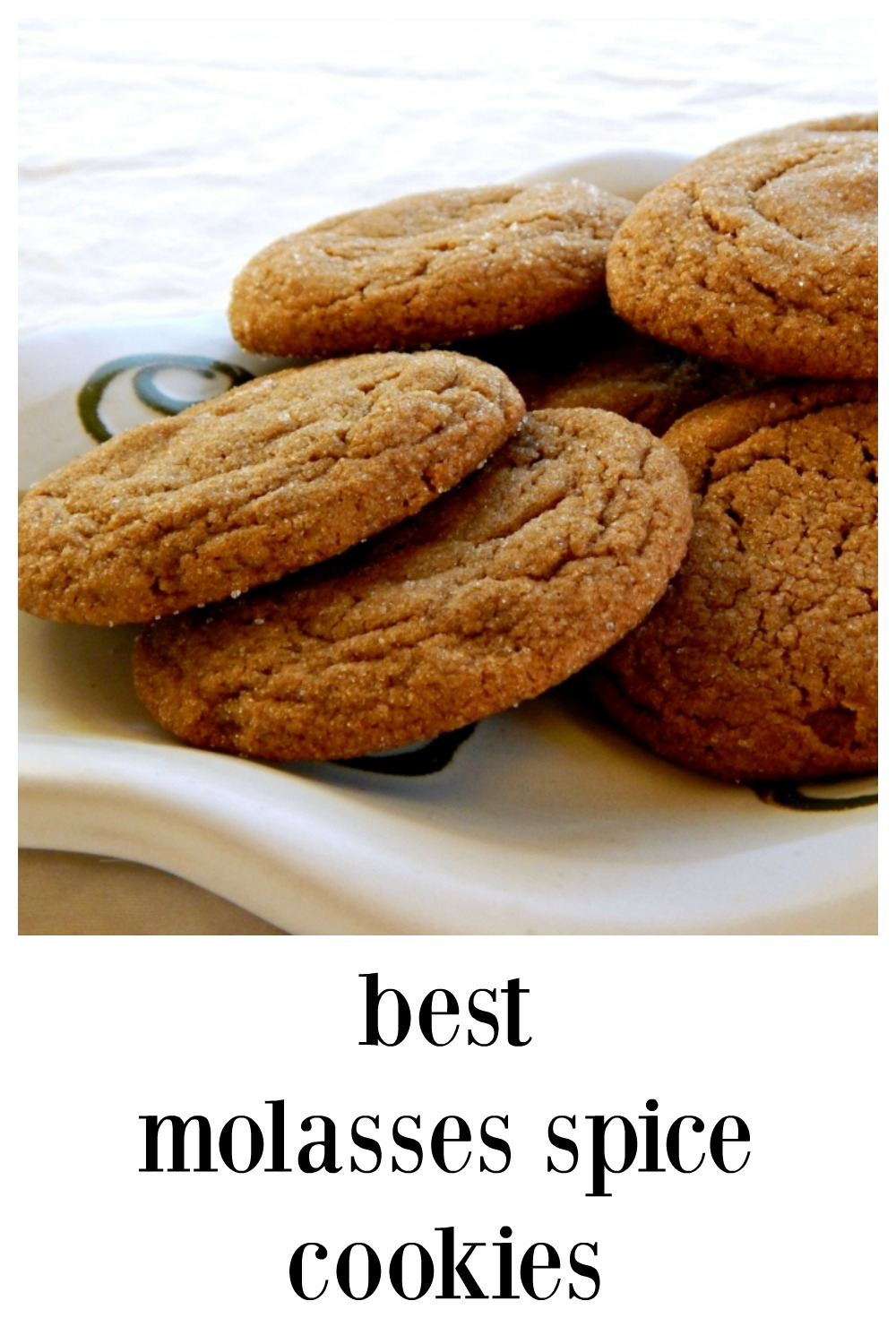 Molasses Spice Cookies, perfect for the season! They\'re crispy, chewy deliciousness and they are downright addictive. The recipe is adapted from Cooks Illustrated so you know it\'s gotta be the best! #MolassesSpiceCookies  #ChristmasCookies #MolassesCookies