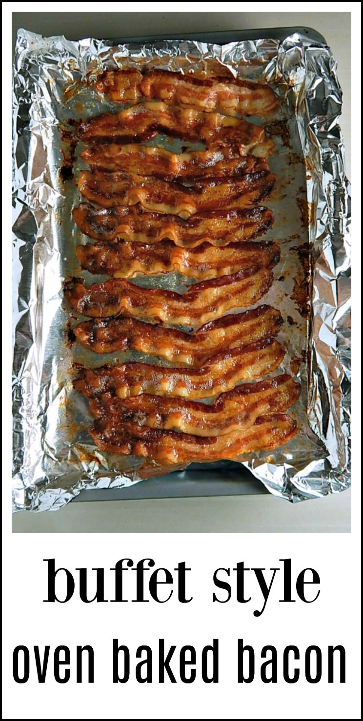 Buffet Style Oven Baked Bacon cooks up perfectly every time with no fussing, spatters or standing at the stove! It's foolproof and mess free and beautifully cooked. #OvenBakedBacon #BuffetBacon #BuffetStyleOvenBakedBacon