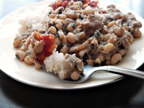Traditional Black Eyed Peas - the perfect bite! Note the Garden Chili Sauce