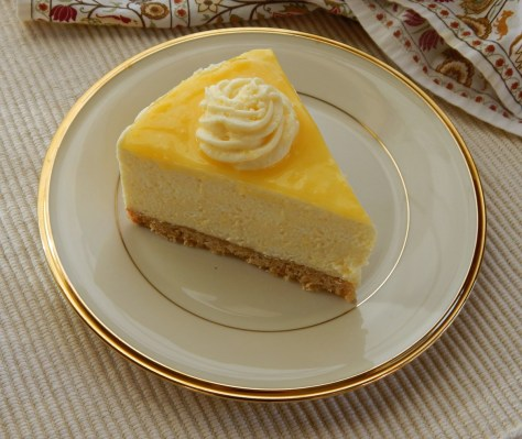 Lemon Curd Mousse Cake- note that this was cut after the cake was refrigerated.