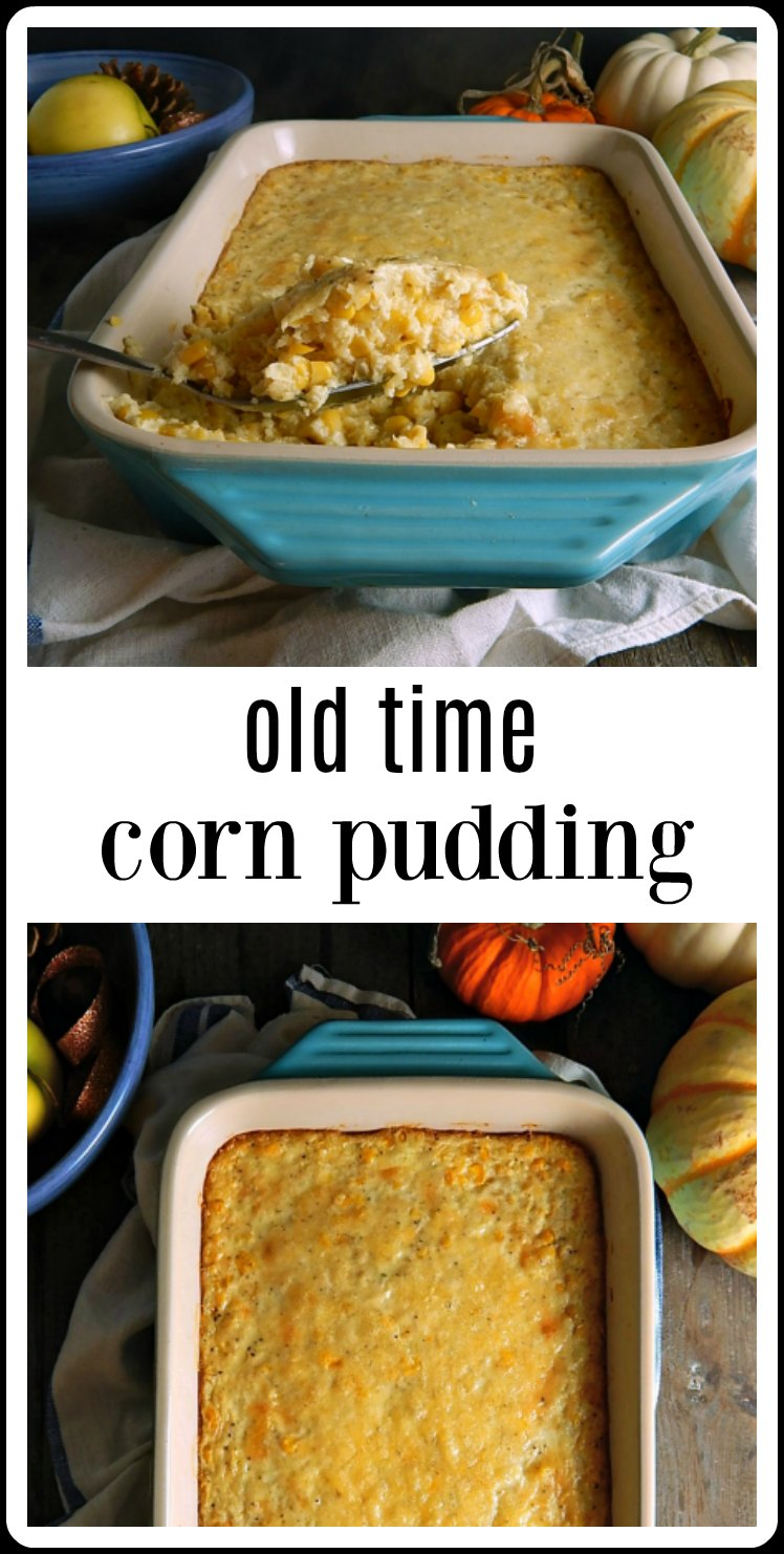 Super easy Old Time Corn Pudding is a great side for a barbecue, cookout or summer party but is just as good on a Thanksgiving or Christmas table. Just mix together and bake! #CornPudding