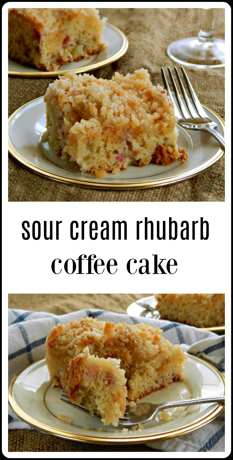 When the spring rhubarb is out, this is the coffee cake you're gonna want to bake - and eat! A big, light, fully Sour Cream Rhubarb Coffee Cake with just the right sweet tart kick. Bonus for super easy and mix by hand. #SourCreamRhubarbCoffeeCake #RhubarbCoffeeCake
