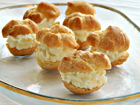 Cream Puffs with Mascarpone Filling and Blueberry Compote