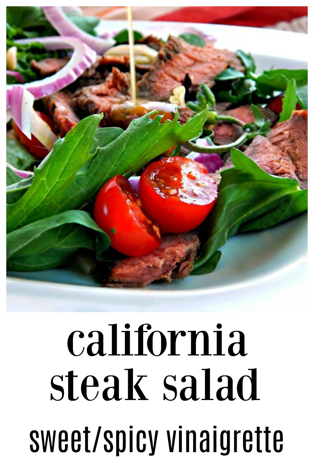 Everything in this simple California Steak Salad with Sweet/Spicy Asian Vinaigrette is fantastic, but it's the Asian vinaigrette that steals the show! #SteakSalad #CaliforniaSteakSalad #AsianSteakSalad #LeftoverSteak #MainDishSalad
