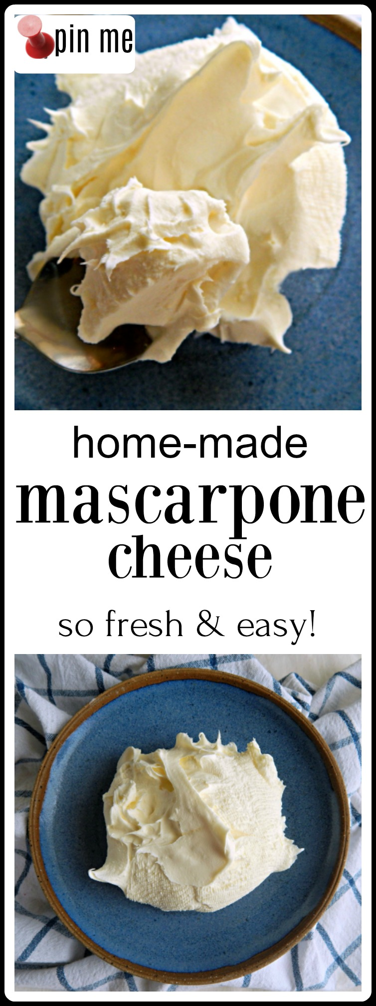 It only takes a few minutes work (and an overnight strain) for the best, creamiest, dreamiest Homemade Mascarpone Cheese imaginable. #HomemadeMascarponeCheese #EasyHomemadeMascarponeCheese