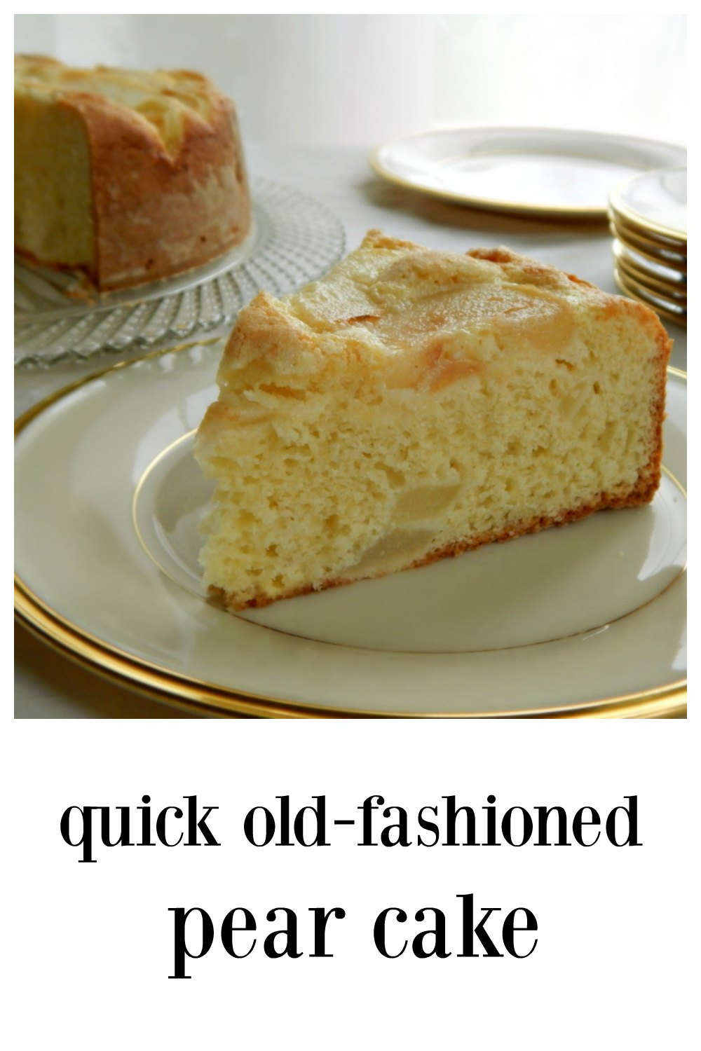 Quick Old-Fashioned Pear Cake is sturdy enough to eat out of hand for a snack and perfect for a not too sweet ending of a casual dinner party. Easy to make and so delish! #PearCake #QuickPearCake #PearSnackCake