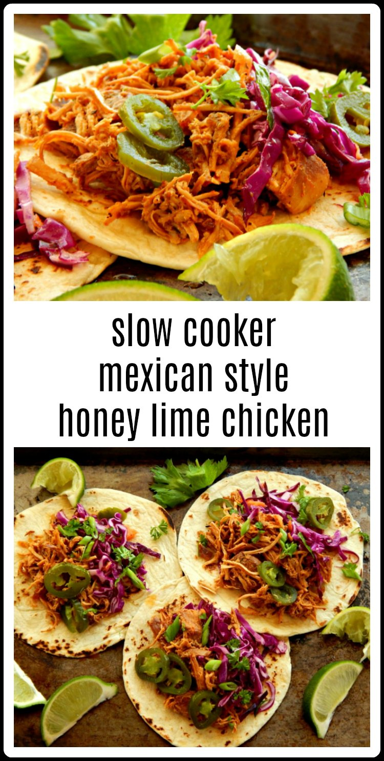 Slow Cooker Mexican Style Honey Lime Chicken - 10-minute dump it in the slow cooker & come back to slow-simmered deliciousness recipe. and a luscious tangle of Mexican Honey Lime Chicken for Tacos, Tostadas, Burritos or just about anything else that you want to make! Make it Red or Green #SlowCookerMexicanChicken #SlowCookerMexicanHoneyLimeChicken #SlowCookerSalsaChicken