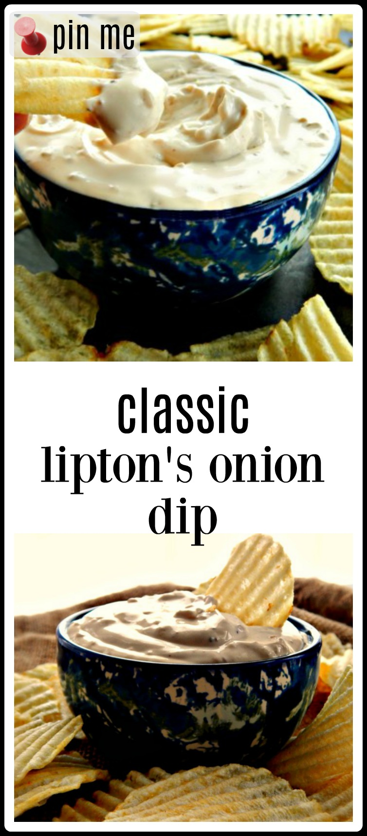 Did you grow up with this Classic Lipton's Onion Soup Dip made from Lipton's Onion Soup Mix and Sour Cream? I did, and we considered it a real treat at our house. After not trying it for literally decades I'm happy to say it was so much better than I expected! Much better than any dip in a carton from the store.
