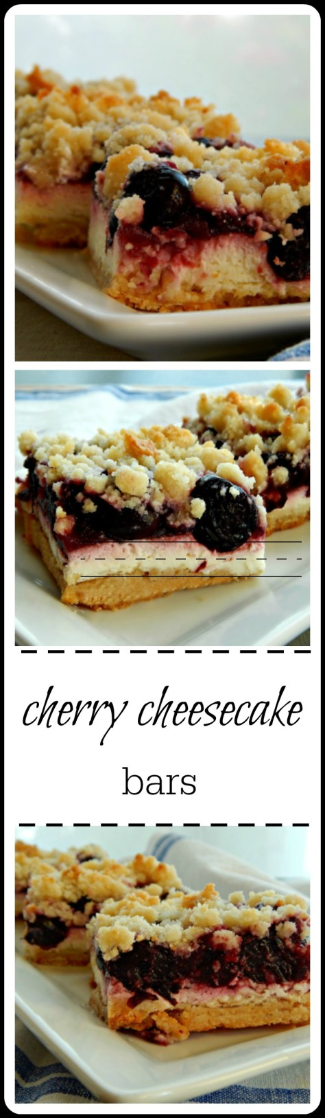 Cherry Cheesecake Bars: Make with a home-made Cherry Filling or shortcut with canned. These will be a repeat every summer!