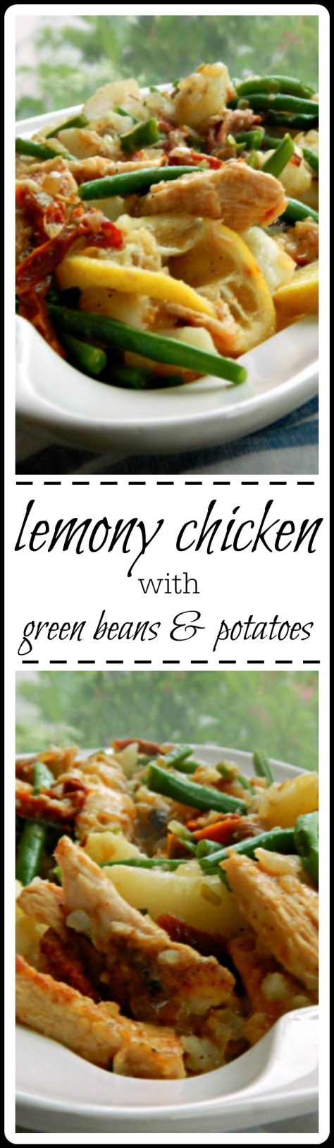 Lemony Chicken with Green Beans - simple enough for every day; elegant enough for company! There are potatoes, too, making it a complete meal. Try it with artichokes in the spring!