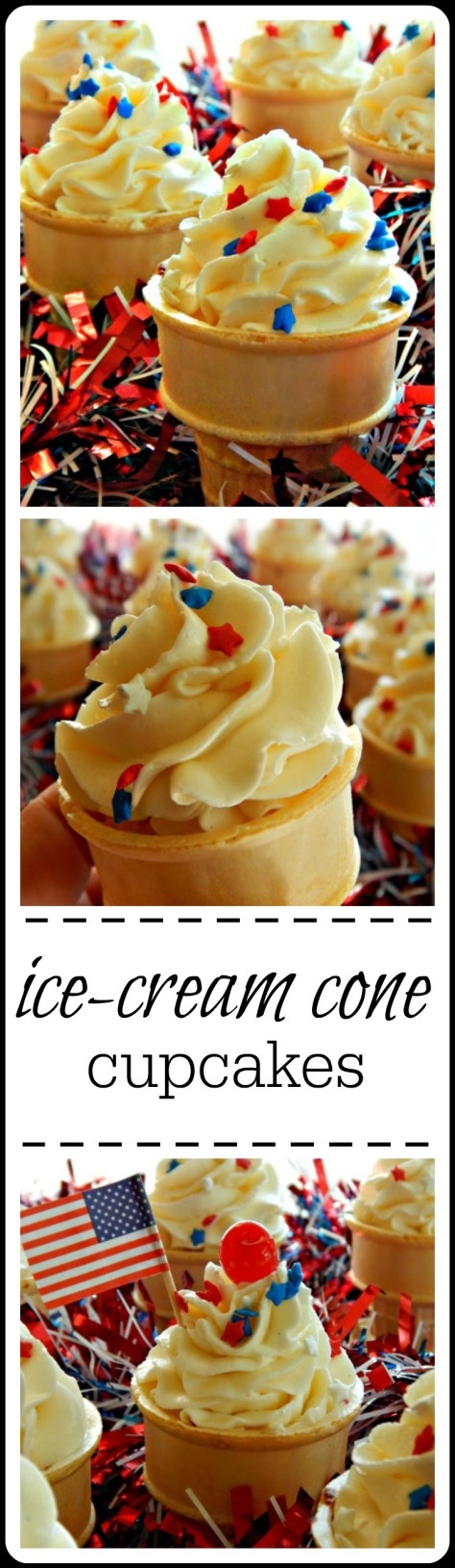 Ice Cream Cone Cupcakes: A gooey yellow cake batter is smothered by rich buttercream. Perfect for a Holiday!!