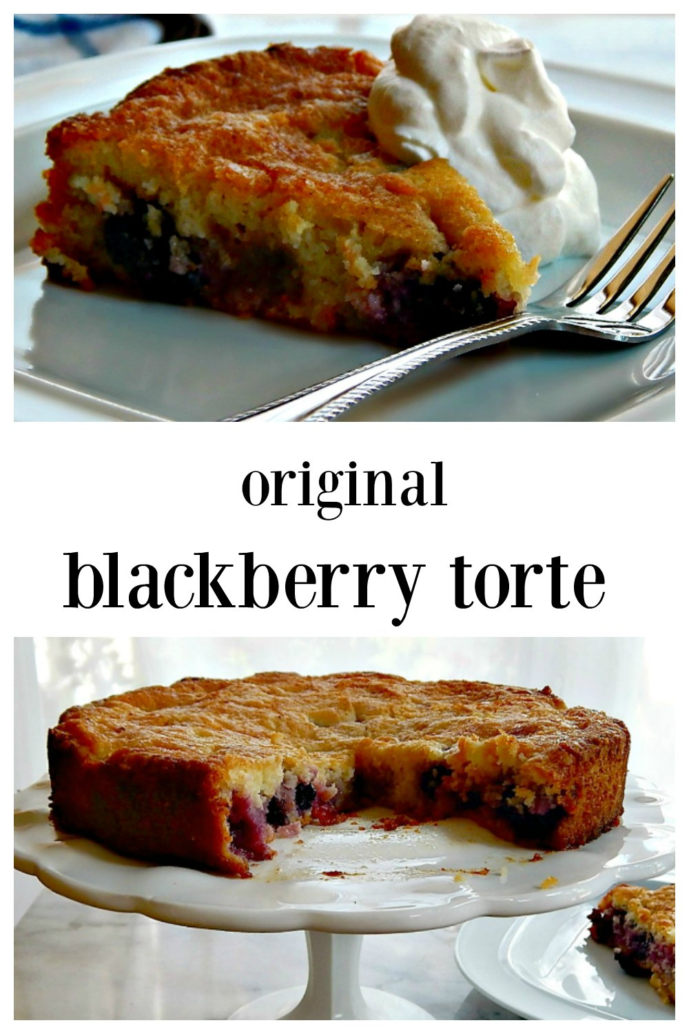 The Original Blackberry Torte is a super easy simple little cake that can be made all summer long at the drop of a hat; Use your choice of fruits! Adapted from Marion Burros of the New York Times. #BlackberryTorte #BlackberryCake