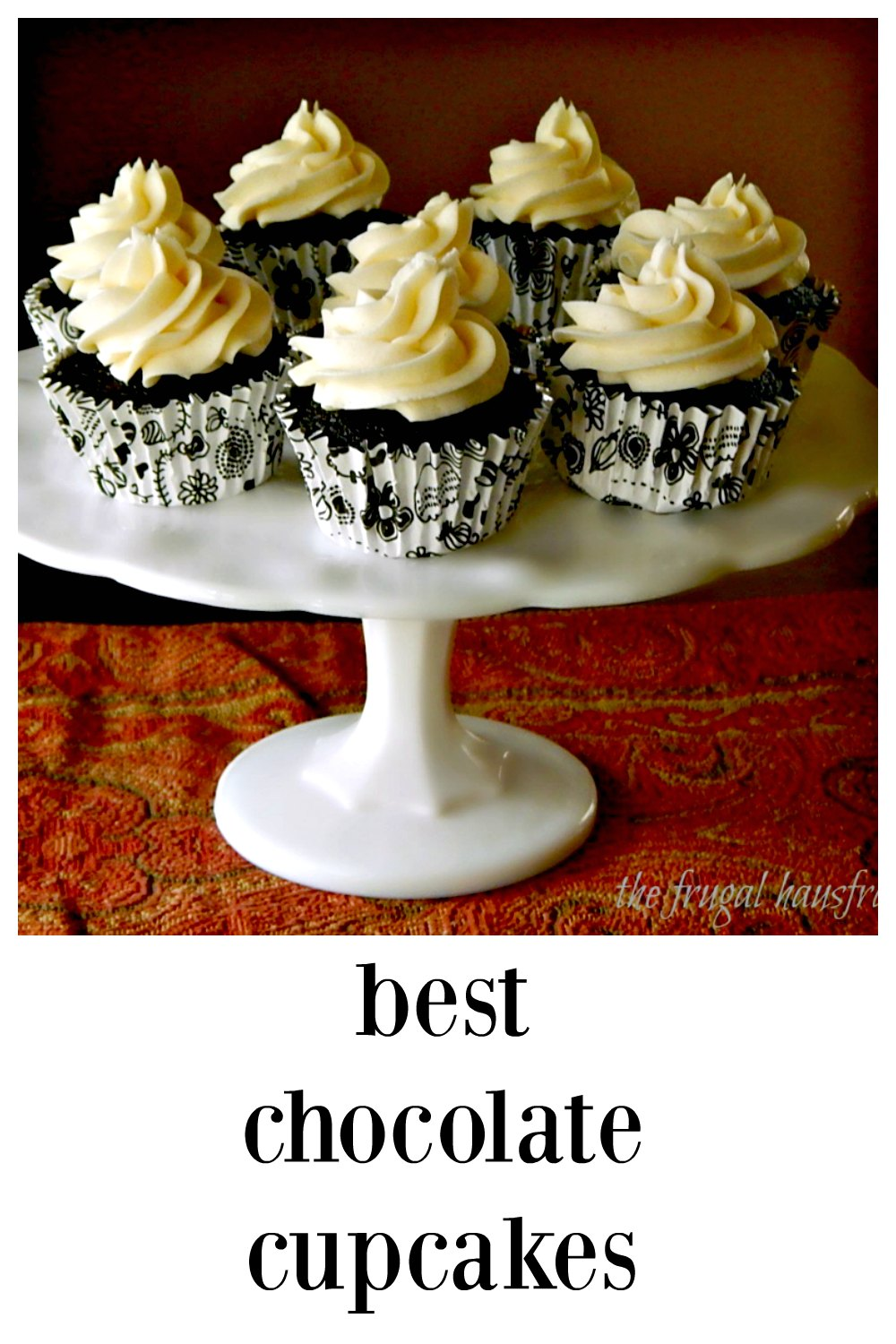 These super easy, stir together by hand cupcakes pack a deep, dark chocolate flavor! Insanely good! #Chocolate Cupcakes #BestChocolateCupcakes #ChocolateDesserts #Desserts