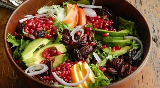 Winter Salad with Avocado, Pomegranate & Maple Glazed Pecans