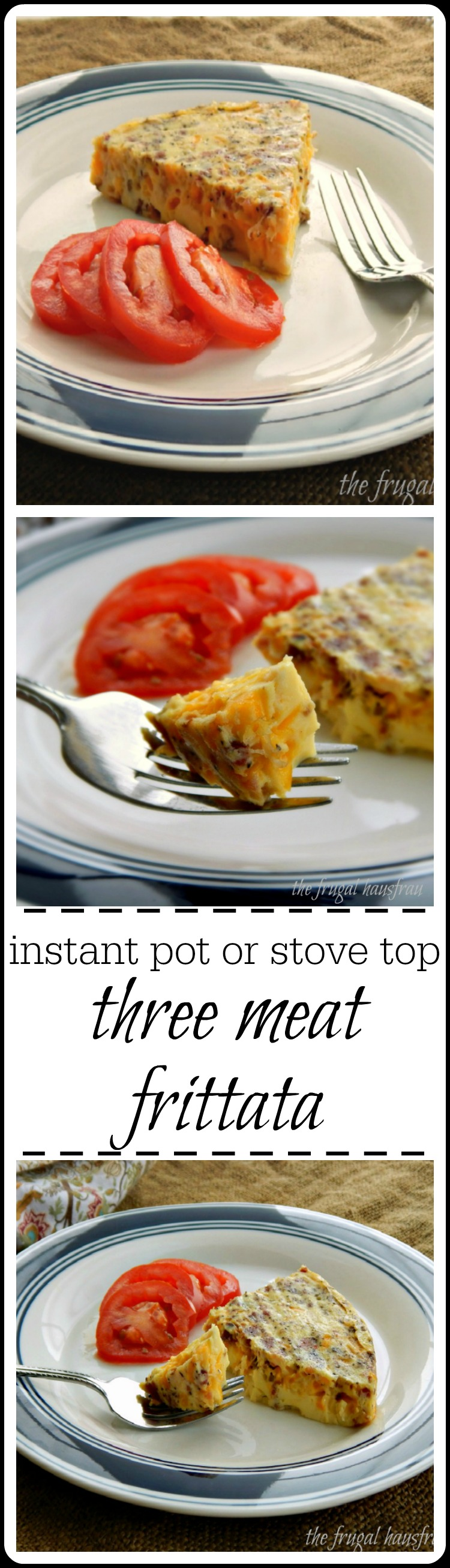 Instant Pot or Stovetop Three Meat Frittata - this is for all those meat lovers in your life that think frittatas are too frou-frou! The combo of meat & cheese is delish!! #MeatloversFrittata #ThreeMeatFrittata #BaconSausageFrittata