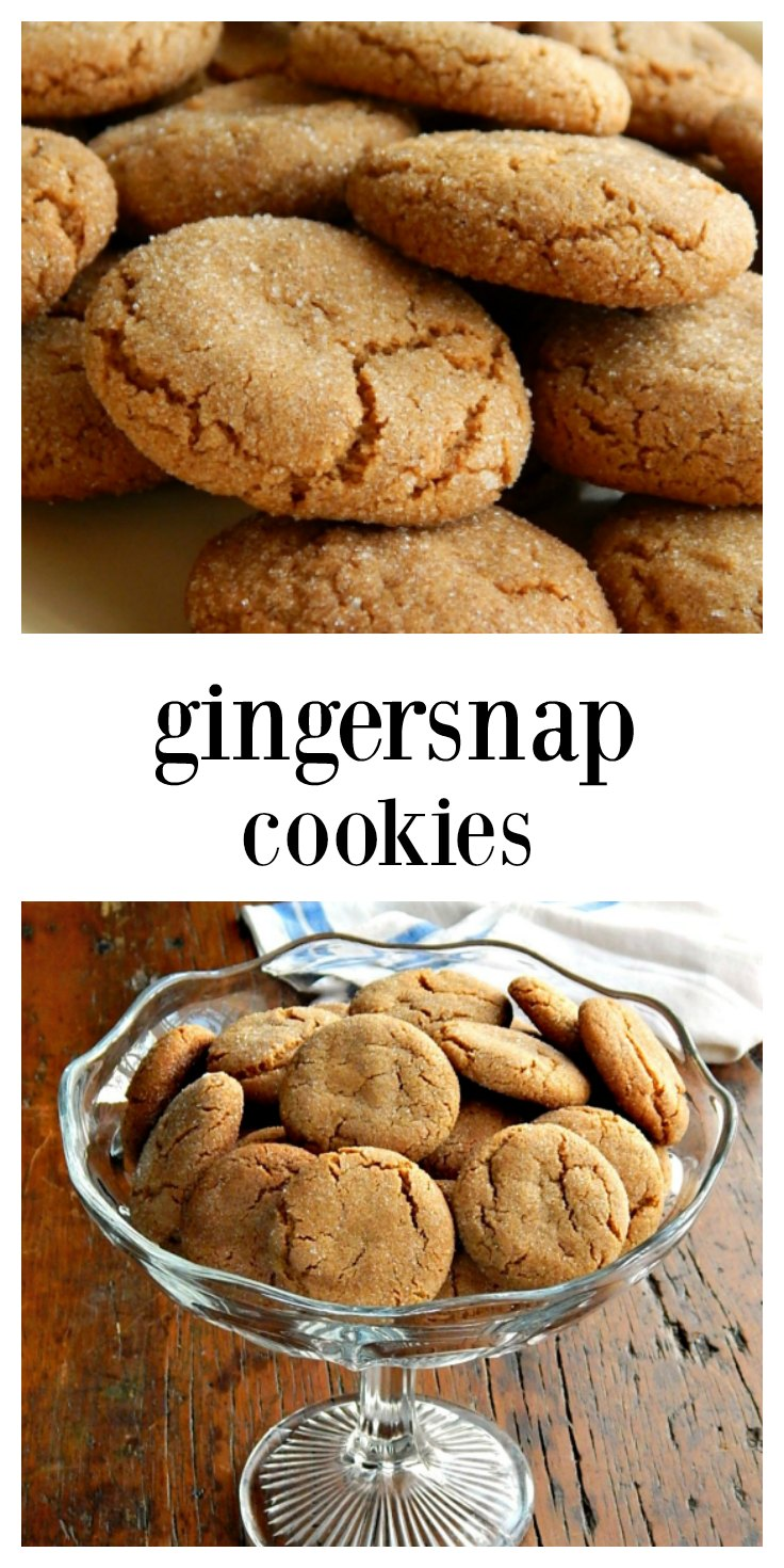 Crispy Gingersnaps are going to be perfect for the holidays! The molasses and ginger and Christmassy flavors will take you to childhood. Gotta love a Christmas cookie that doesn\'t have to be rolled out or decorated! #Gingersnaps