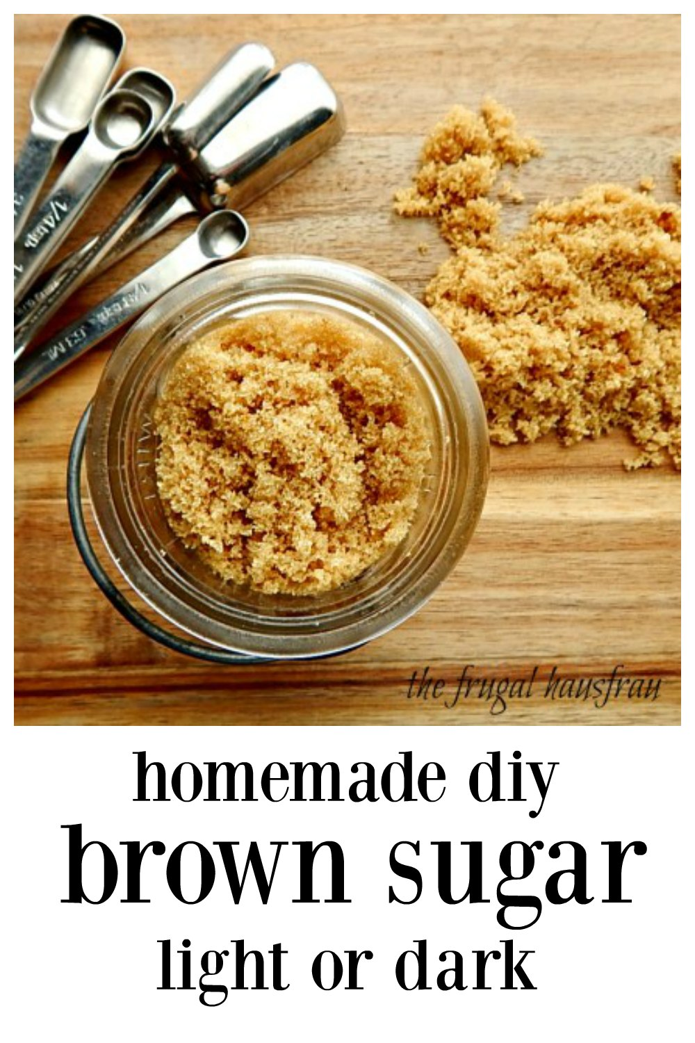 Mix up your own Homemade Light or Dark Brown Sugar in minutes. It's fast, easy and a great way to sub if you need brown sugar in a pinch. Cheaper, too! Make a little or a lot, 2 ingredients. 10 minutes #HomemdeBrownSugar #HomemadeLightDarkBrownSugar #DIYBrownSugar #HomemadeDarkBrownSugar #HomemadeLightBrownSugar