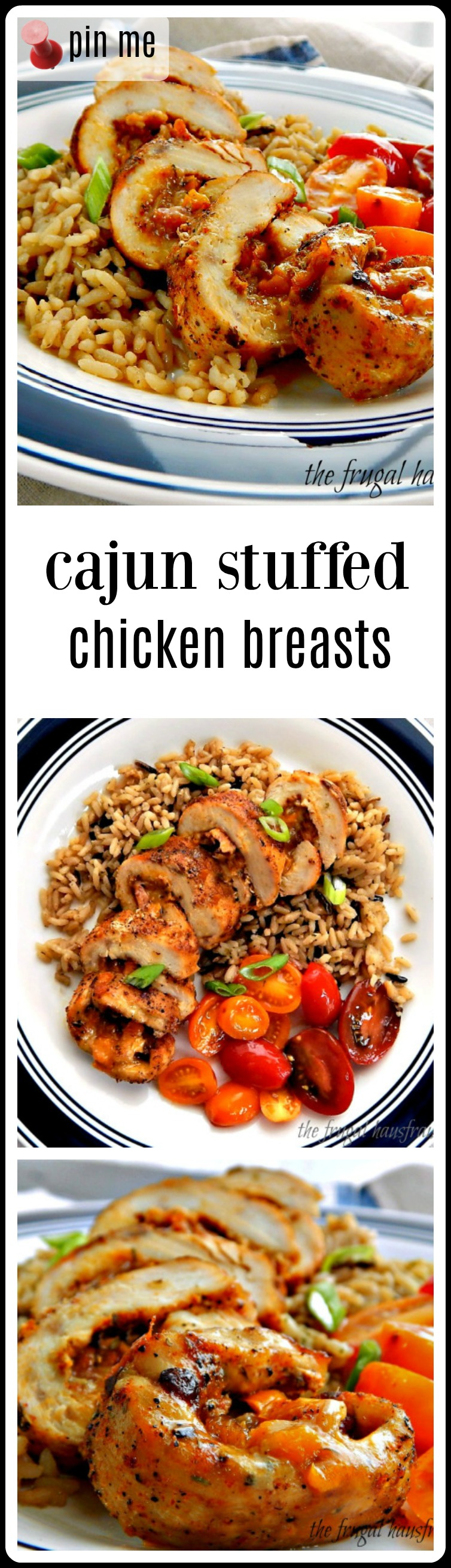 Cajun Stuffed Chicken Breast - stuffed with the classic New Orleans' Trinity and Cheese! Ya gotta have cheese!! Very do-able and surprisingly quick. #CajunStuffedChickenBreasts #StuffedChickenBreasts