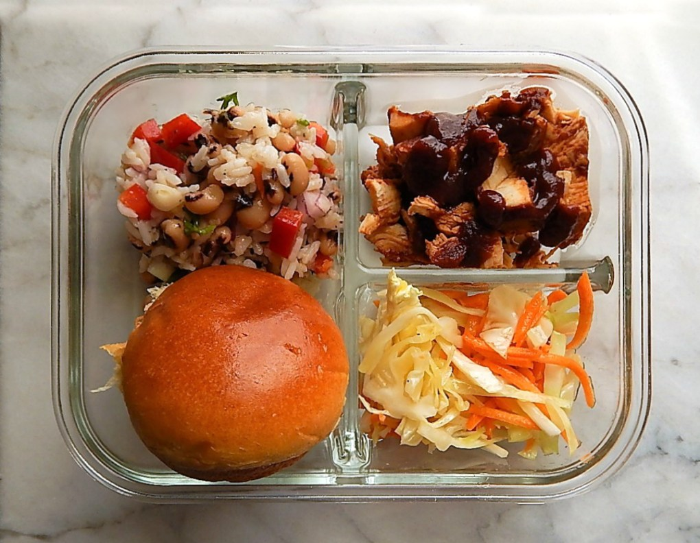 Pulled Chicken Meal Prep with Black Eyed Pea Salad & Cole-Slaw