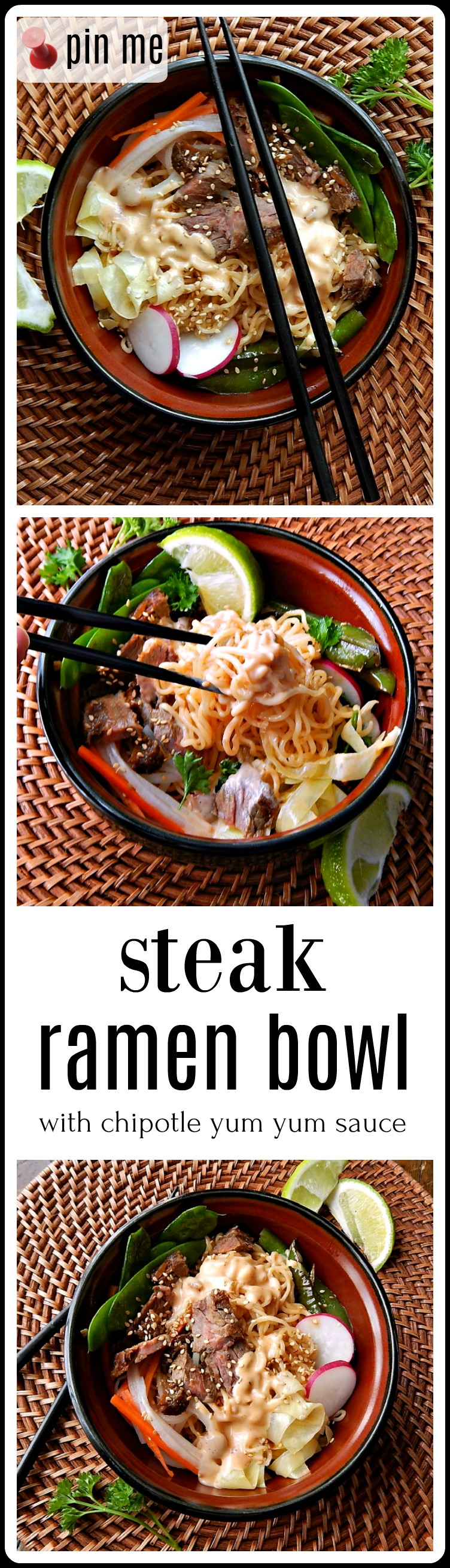 Steak Ramen Bowl - it has everything! A little steak, spicy noodles, blistered bell peppers, veggies, pickled carrots & daikon & a Chipotle Yum Yum Sauce. It's insanely good! #SteakRamenBowl