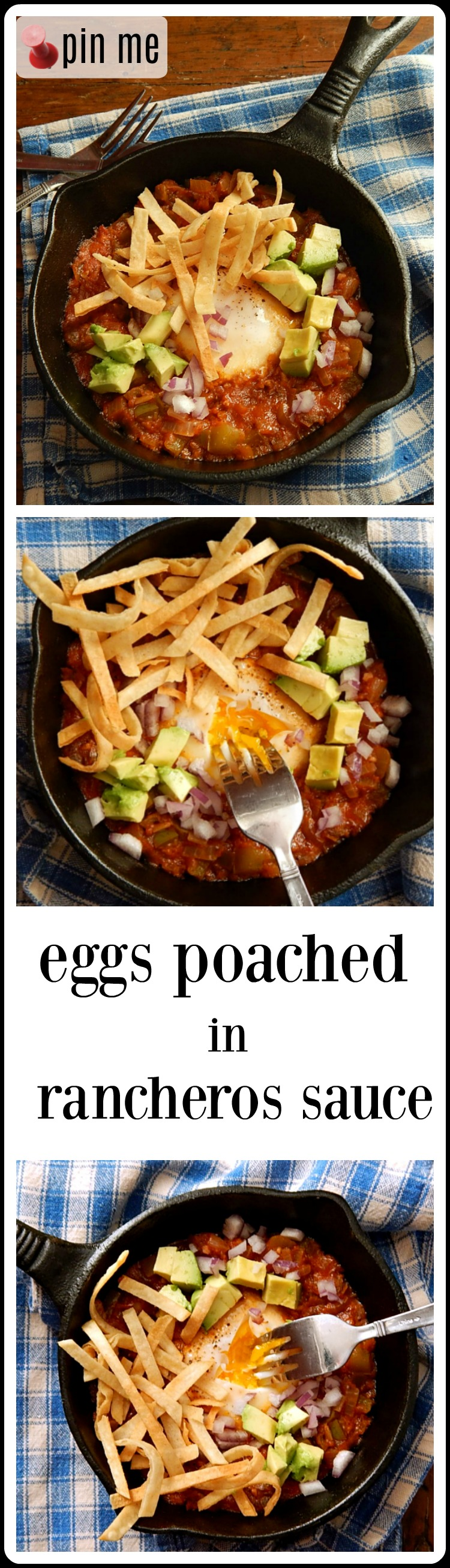 Eggs Poached in Rancheros Sauce is a quick, easy skillet breakfast (that's just as good for brinner). Cozy enough for family & fun enough for guests. #EggsRancherosSauce #EggsPoachedRancherosSauce