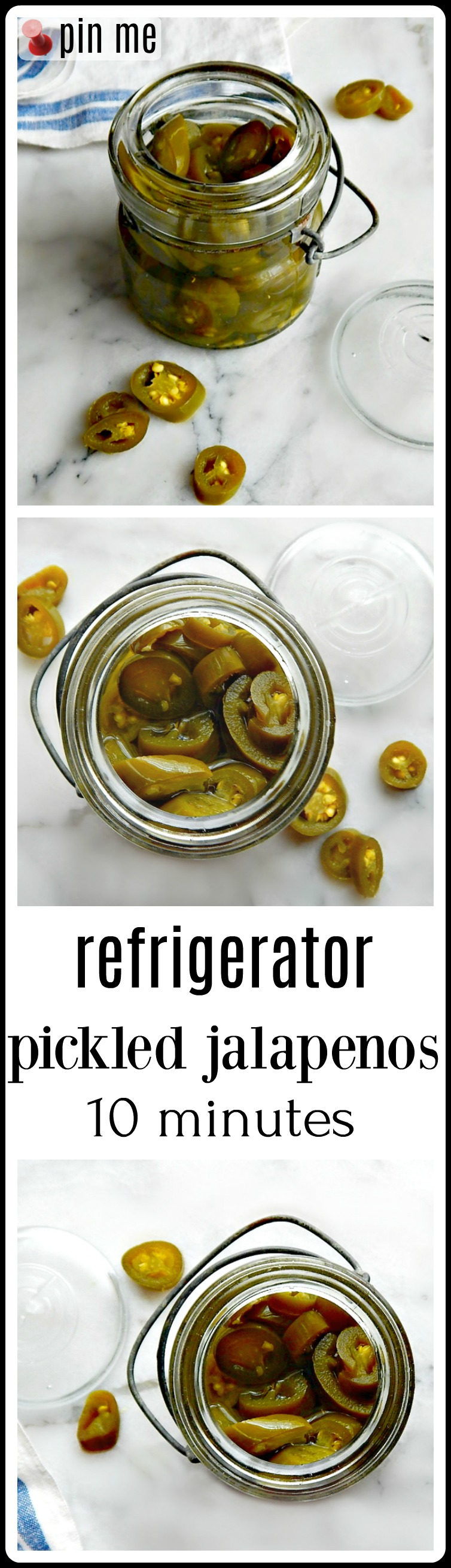 "Refrigerator Pickled Jalapenos: Do yanno what's a great little thing to have on hand? Just to perk up a little Mexican food. Maybe toss on some tacos? Refrigerator Pickled Jalapenos. They're like 10 minutes to make and once you try them, you'll have that ""doi"" moment when you think about all the pricey jars you've bought!"