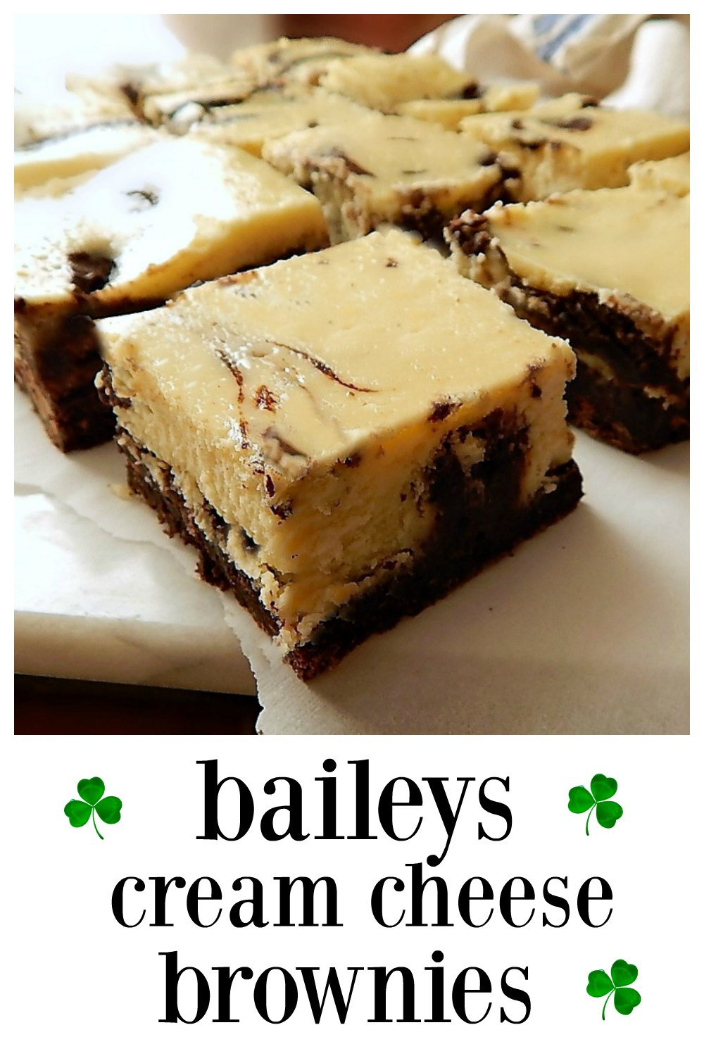 Really Bailey's Cream Cheese Brownies; they taste like they do have Baileys! Perfect for St Paddys! #BaileysBrownies #CreamCheeseBaileysBrownies #Brownies #StPatricksDayRecipes #StPaddysDayRecipes #Brownies #StPatricksDayFood #StPaddysDayFood