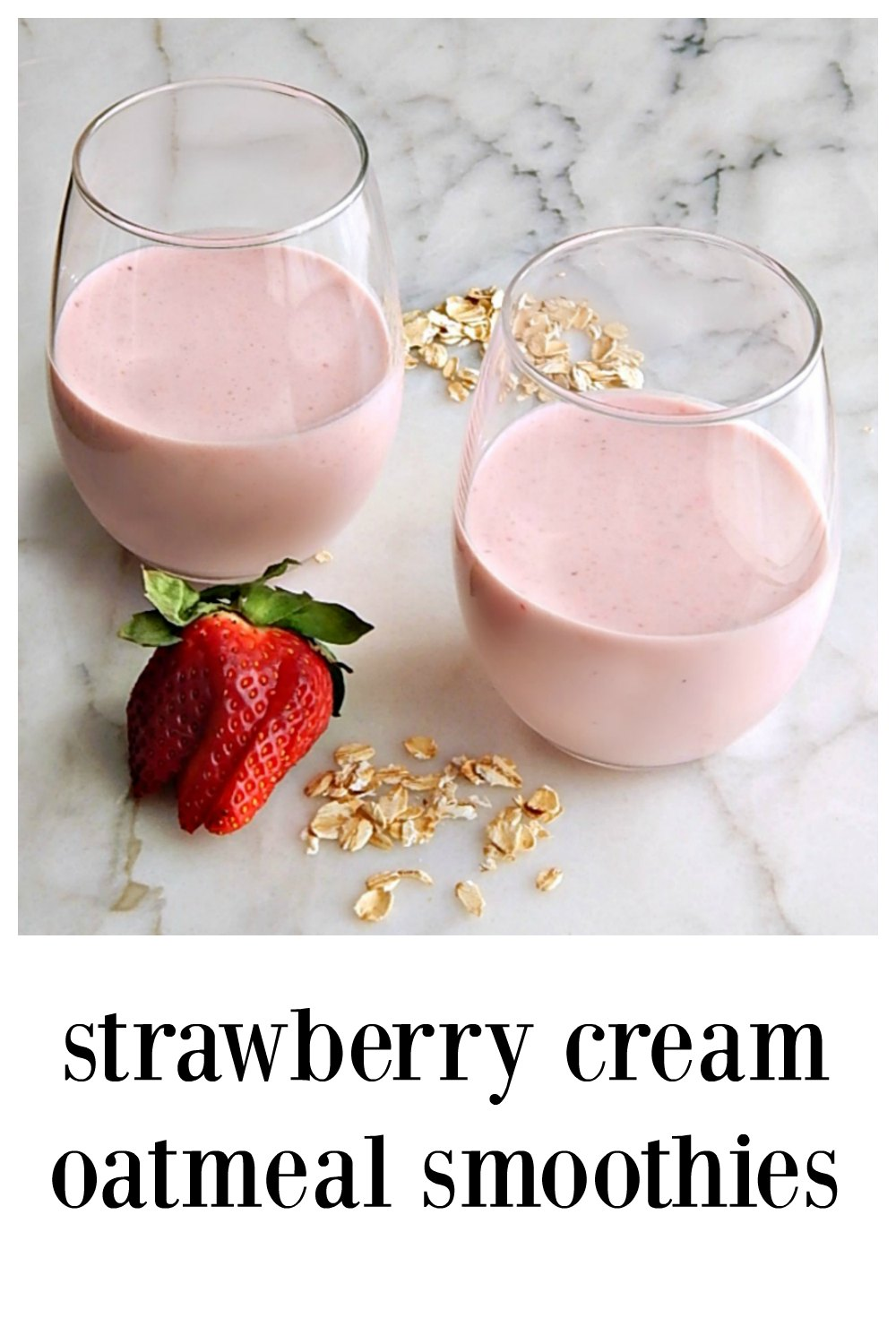 Strawberry Cream Oatmeal Smoothie: super simple, full of healthy, natural ingredients and is ready in a shake! Use fresh or frozen berries, raw or cooked oatmeal (a great way to use any leftover oatmeal!) #StrawberryOatmealSmoothies #BerryOatmealSmoothies #StrawberryCreamOatmealSmoothies