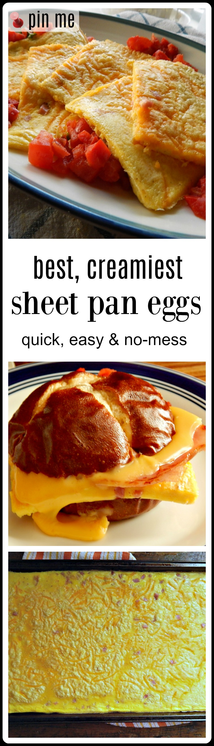 The Best Creamy Sheet Pan Eggs - fast, easy & quick, these turn out creamy & delish. Perfect for Breakfast or make ahead food prep. #SheetPanEggs #BestSheetPanEggs #BestCreamySheetPanEggs