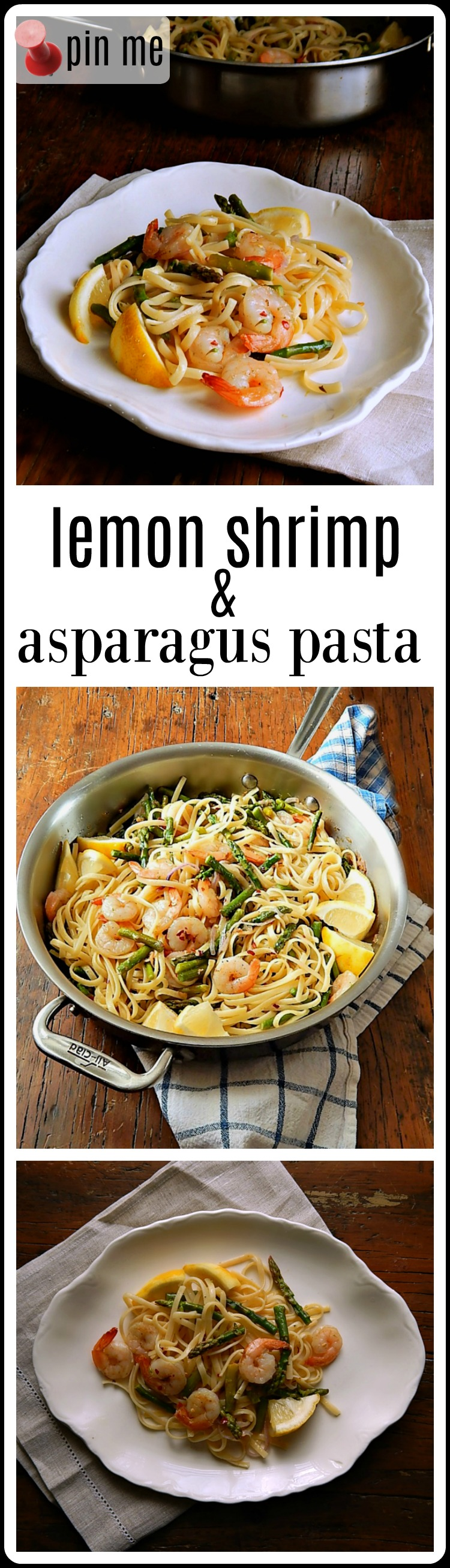 Lemon Shrimp & Asparagus Pasta is super quick, easy & elegant! It's a great dish for a weeknight or Mother's day or a brunch. Under 30 minutes start to finish. #LemonShrimpAsparagusPasta #ShrimpPasta #MothersDayBrunch