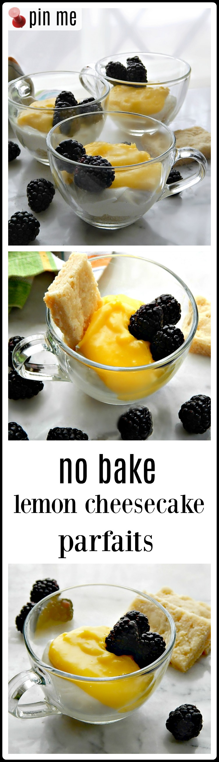 No Bake Lemon Cheesecake Parfaits are creamy & dreamy deliciousness. A base of shortbread crumbs grounds the lemony cheesecake and the topping of bright zesty lemon curd gives this easy, make-ahead dessert a one-two punch of lemony flavor. #No Bake Lemon Cheesecake Parfaits #Easter Dessert
