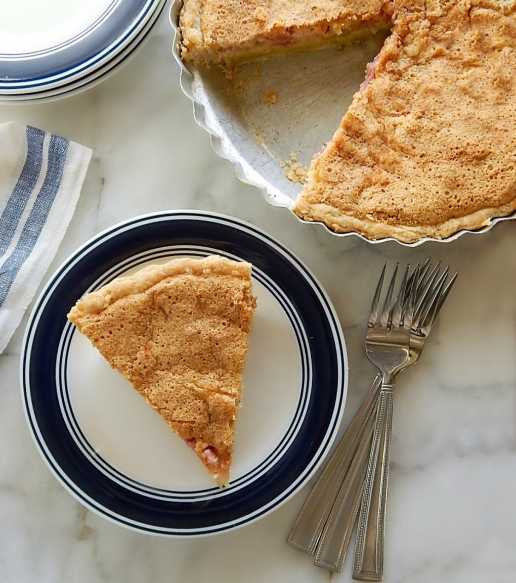 Two Layer Rhubarb Custard Pie