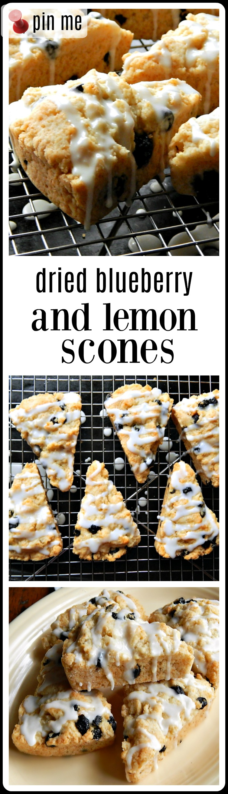 Dried Blueberry Lemon Scones are tender and moist and just a bit crumbly. Very scone-like. They're loaded with blueberries. The lemony icing is insane! #DriedBlueberryScones #BlueberryScones