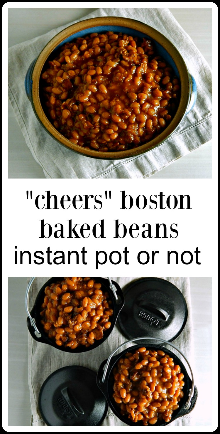 What's the perfect frugal side for any casual get together? Boston Baked Beans. Especially when they're the original recipe from the Cheers Bull & Finch in Boston, Mass. Different than most baked beans, these aren't sweet, they're a little sharp and tangy & such a nice change up. Make in the oven or Instant Pot.