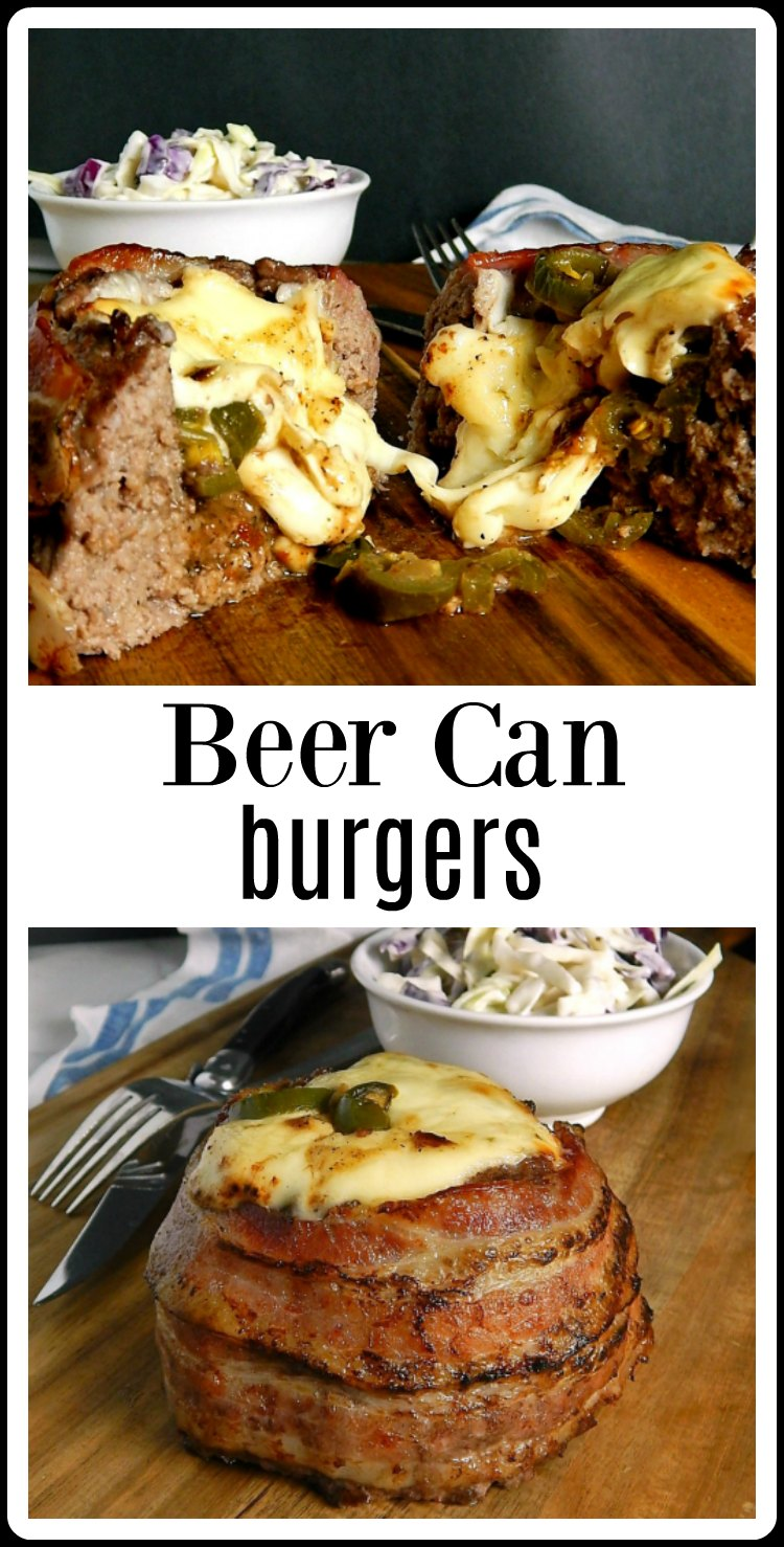 Beer Can Burgers - OMG INSANELY delicious! Perfect for any Summer holiday or extravaganza and easy to make! Form the burgers around a can or bottle, wrap with bacon, fill the inside with just about anything that sounds good and bake, grill or smoke!! This is filled with Pickled Jalapenos and Pepperjack Cheese. Try Mushroom Swiss. Use your imagination - what would be your perfect oozy, cheesy filling? #BeerCanBurgers