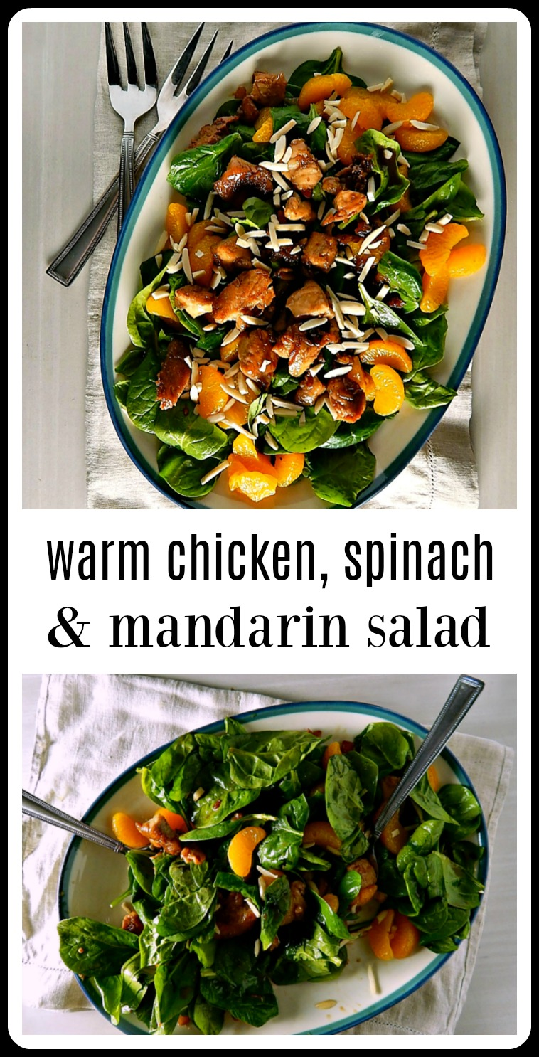 This Warm Spinach Chicken Mandarin Salad is a beautiful thing: When that warm, rich, Asianychicken mixture hits those cool spinach and Mandarins, it's like an explosion of flavors and textures and the warmth just seems to intensify the Mandarins and spinach. #SpinachSalad #AsianSalad #AsianChickenSalad
