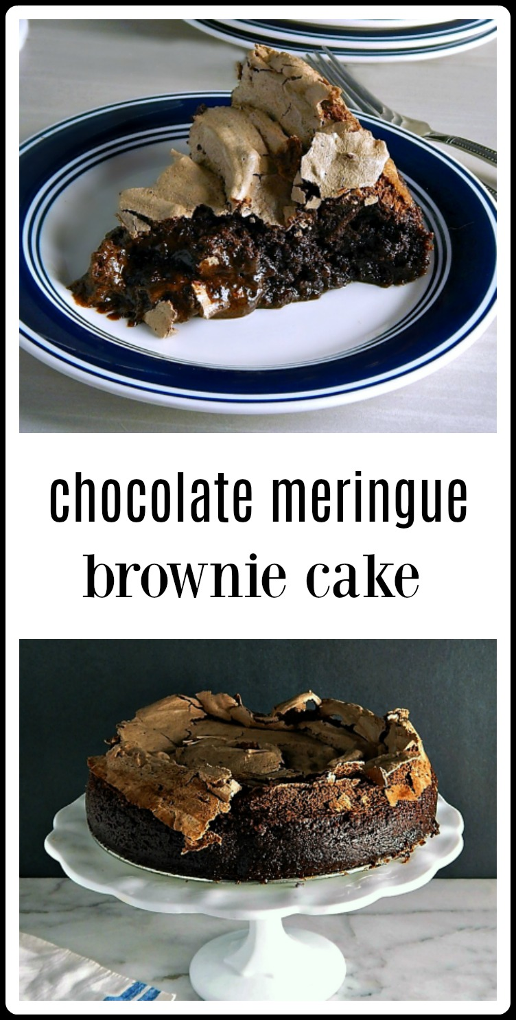 This is the pinnacle of Chocolate Meringue Brownie Cakes. The ooey, gooey deliciousness will send you into a chocolate delirium! #ChocolateMeringueBrownies  #MeringueBrownieCake