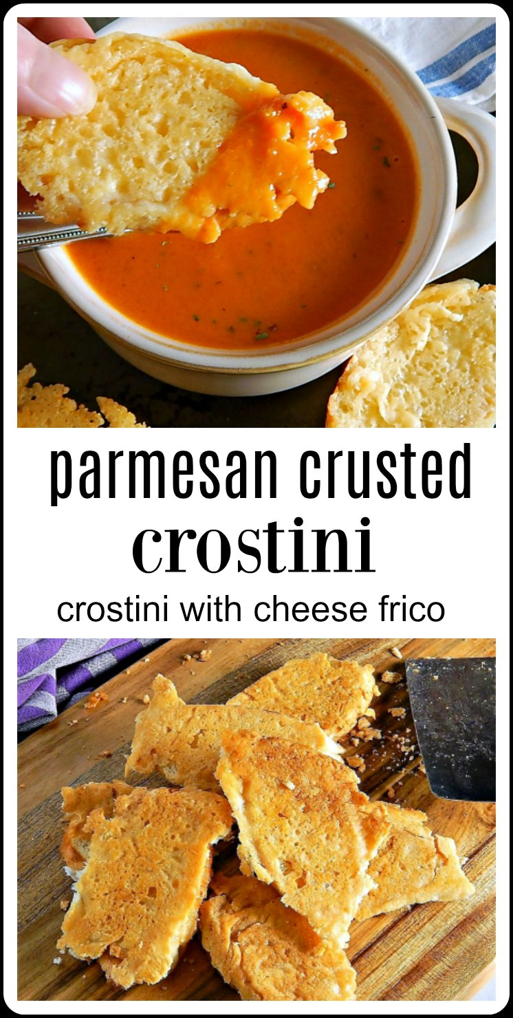 Parmesan Crusted Crostini: The toasted crostini is pushed down into the hot, melty, golden brown and delish cheese. Then the whole thing is turned upside down and released from the pan. They're crunchy, cheesy deliciousness! #ParmesanToast #ParmesanFrico #ParmesanCrostini
