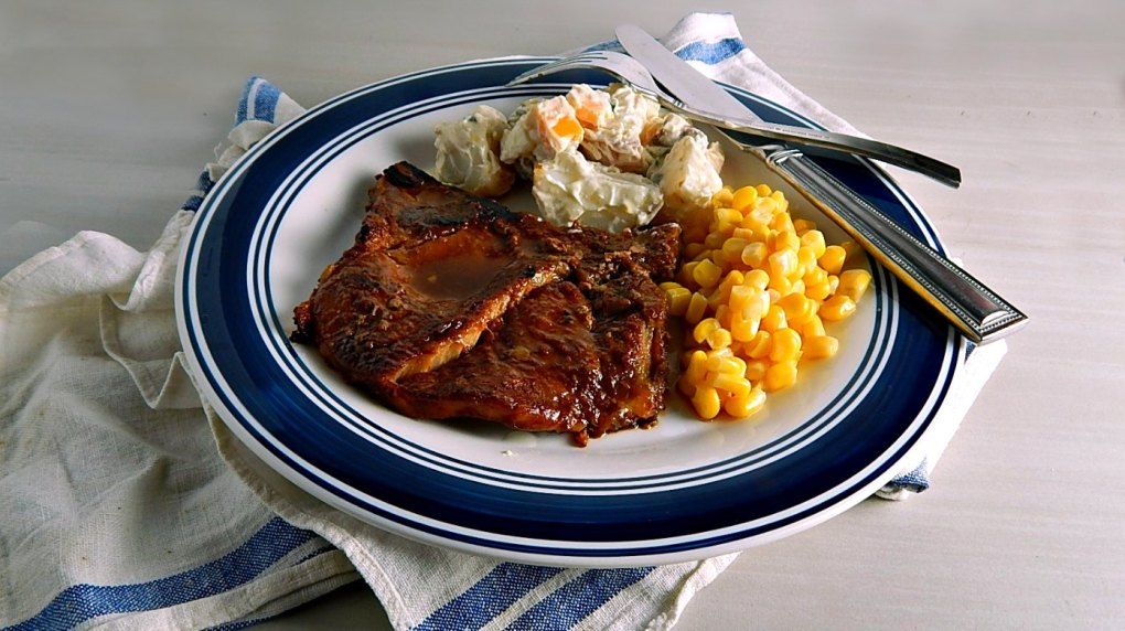 St Louis Style Pork Steaks & Loaded Baked Potato Salad