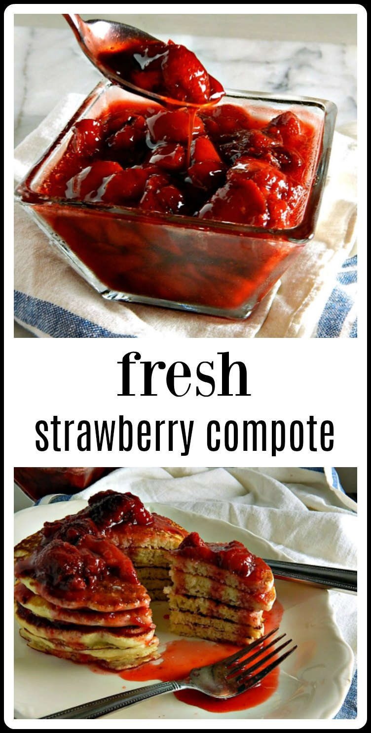 Make your Strawberry sauce to top anything from ice cream to pancakes. This Fresh Strawberry Compote couldn't be easier or more delicious! #StrawberryCompote #FreshStrawberryCompote