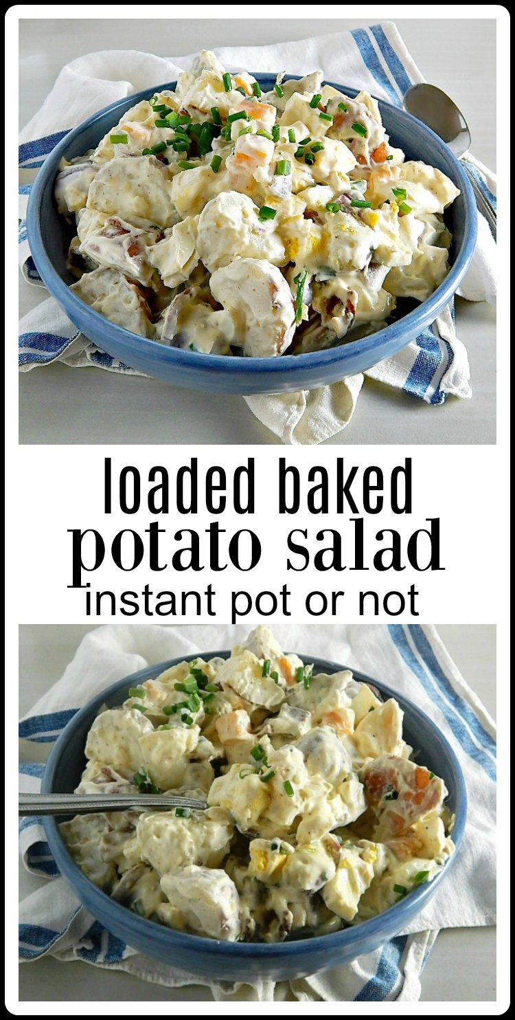 The ultimate summer party potato salad, Loaded Baked Potato Salad. It has bacon and cheese, sour cream, chives and did I say bacon? #LoadedBakedPotatoSalad #LoadedPotatoSalad