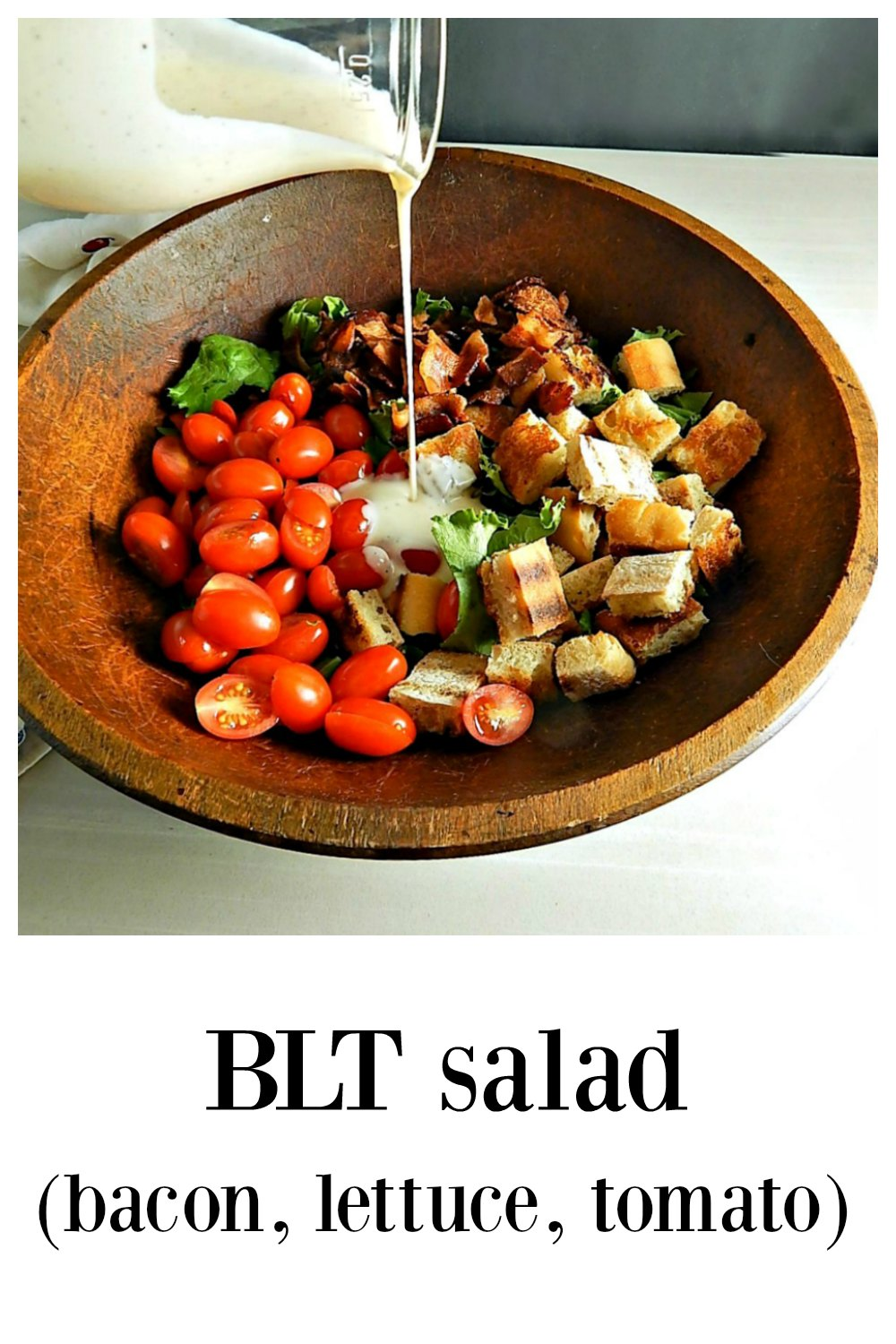 Bacon Lettuce Tomato Salad is everything cool, creamy, chewy, crunchy sweet and tangy deliciousness! So refreshing and just the thing for summer tomatoes! #BLTSalad #BaconLettuceTomatoSalad